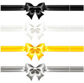 Silk bows black and gold with ribbons — Stock Vector