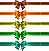 Silk bows with ribbons in dark colors — Stock Vector