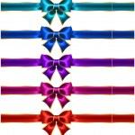 Holiday bows with gold border and ribbons — Stock Vector #34651847