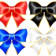 Black and white holiday bows with gold border — Stockvector