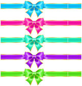 Bright holiday bows with gold border and ribbons — Stock Vector
