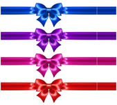 Festive bows with glitter and ribbons — Stock Vector