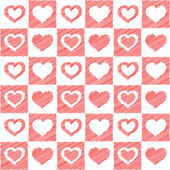 Seamless red hearts sketch — Stock Vector