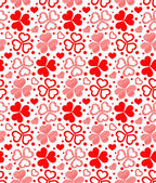 Floral seamless of red hearts — Vector de stock
