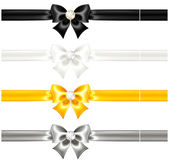 Silk bows black and gold with diamonds and ribbons — ストックベクタ
