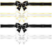 White and black bows with gold and silver edging and ribbons — Stock Vector