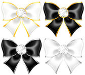White and black bows with diamonds and gold edging — Stock Vector