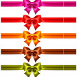 Stock Vector: Festive bows in warm colors with ribbons