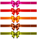 Festive bows in warm colors with ribbons — Stock Vector