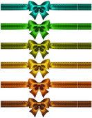Holiday polka dot bow-knots with ribbons — Stock Vector