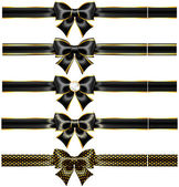 Black bows with gold and ribbons — Stockvector