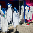 Costumes on mannequins in the street — Stockfoto