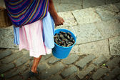 Woman carrying a bucket full of figs — Stock Photo