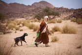Man with goat — Stock Photo