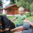 Stock Photo: Family with dogs resting