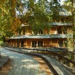 Wooden buildings in the ecopark Huilo Huilo, Patagonia, Chile — Stock Photo
