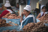 Seller potatoes at the market in Bolivia — Stock Photo