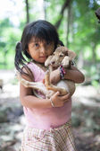 Girl of the Maya with dog — Stock Photo