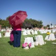 Постер, плакат: AGUASCALIENTES MEXICO NOV 01: Unknown people on a cemetery in