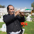 Постер, плакат: AGUASCALIENTES MEXICO NOV 01: Unknown musicant on a cemetery
