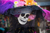 Skeleton of Catrina (La Calavera Catrina) is obligatory attribute of the Day of the red — Stock Photo