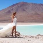 la mariée dans le désert sur altiplano du haut plateau, laguna verde, Bolivie — Photo #35815977
