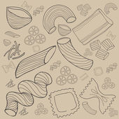 Pasta collection drawings vector set — Vector de stock
