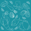 Set of hand drawn elements seafood. Retro vintage style seafood design. Vector illustration. — Stock Vector