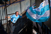 BUENOS AIRES, ARGENTINA - JULY 13, 2014: Soccer fans on the stre — Stock Photo