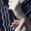 Hands and scarf - Stock Photo