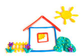 Plasticine small house — Stock Photo