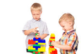 Children builds constructor — Stock Photo