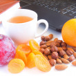 Healthy snack in office — Stock Photo