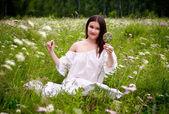Girl on meadow — Stock Photo