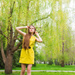 Woman in spring park — Stock Photo