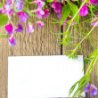 Blank card and spring flowers — 图库照片