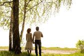 Happy couple under tree — Stock Photo