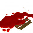 Stock Photo: Pool of blood and razor blade