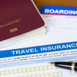 Travel insurance application form with pen and passport — Stock Photo