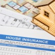 Stock Photo: House insurance application with model house and construction pl