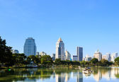 Business district cityscape from a park with blue sky — Stockfoto