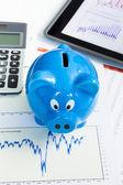 копилка и финансовые диаграммы для финансового здоровья проверить приготов — Стоковое фото
