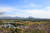 Aerial view of countryside village landscape, lopburi, thailand — Stock Photo