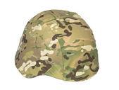 Kevlar helmet multicam camouflage isolated on white — Stock Photo