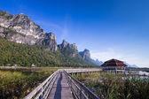 Holzbrücke über einem see im sam roi yod nationalpark, prachuap — Stockfoto