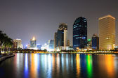 Modern business area at night in Bangkok, Thailand — Stock Photo