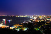 Pattaya stad haven van twilight, thailand — Stockfoto
