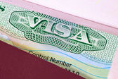 US visa in a passport macro — Stock Photo