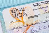 India visa in a passport macro — Stock Photo