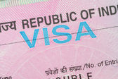 India visa in a passport macro — Stock Photo